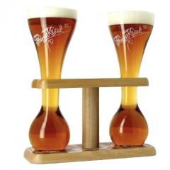 Bosteels - Pauwel Kwak две колбы + подставка деревянная (на 2 бокала)